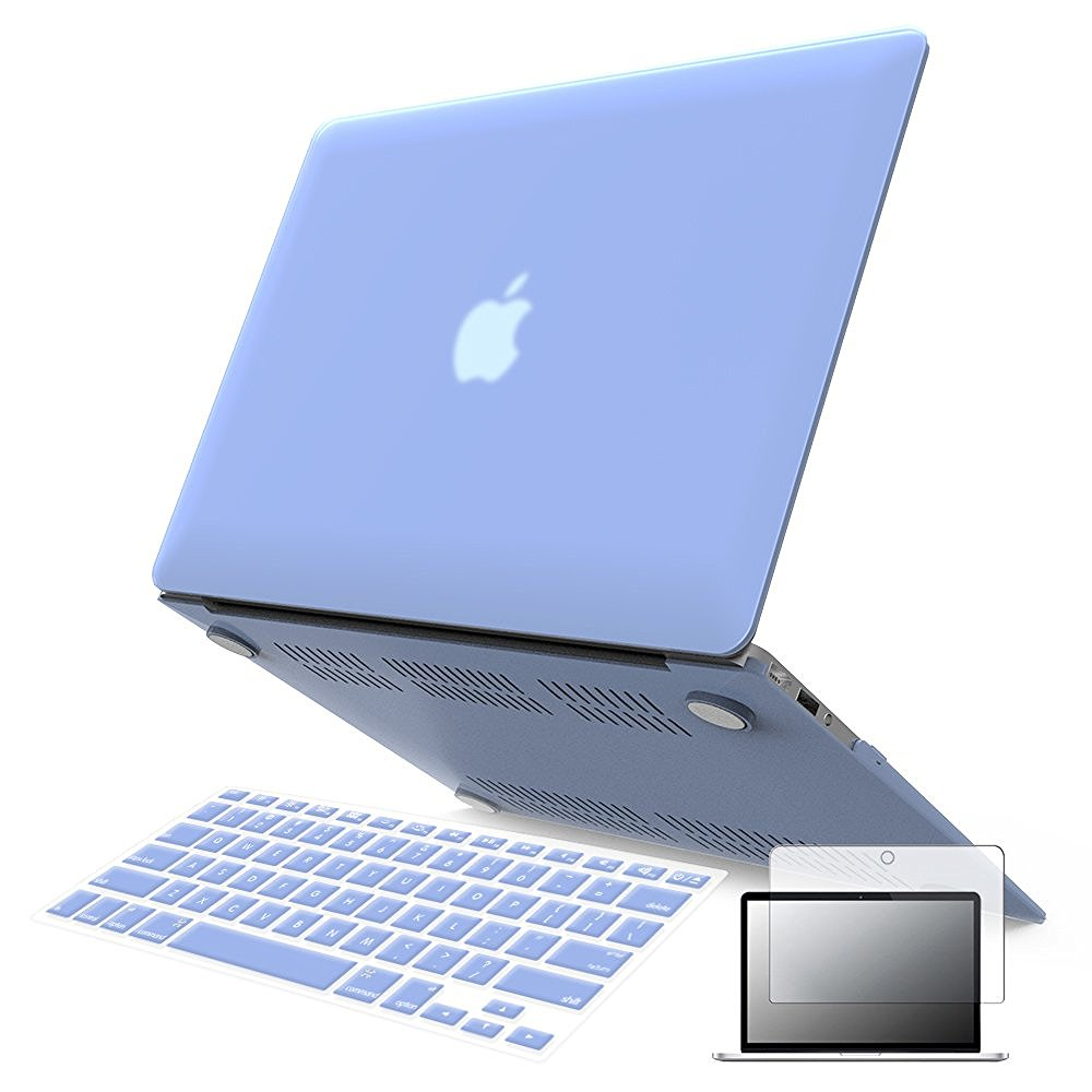 "iBenzer - 3 in 1 Macbook Air 11"" Soft-Skin Plastic Hard Case Cover & Keyboard Cover & Screen Protector for Macbook Air 11"" NO CD-ROM (A1370/A1465), Serenity Blue MMA11SRL+2"