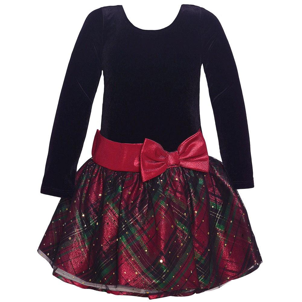 f814e01a7656 Bonnie Jean Little Girls Black Red Plaid Drop Waist Bow Christmas Dress -  Walmart.com