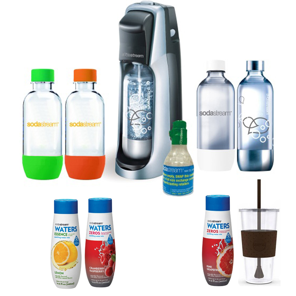 SodaStream Fountain Jet Soda Maker in Black w Exclusive Kit 4 Bottles & Mini CO2,Tumbler 24 Oz Cup Mug & Waters Zeros w 2 flavor Pink Grapefruit & Cranberry Raspberry zero cal Water Essence Lemon Flv