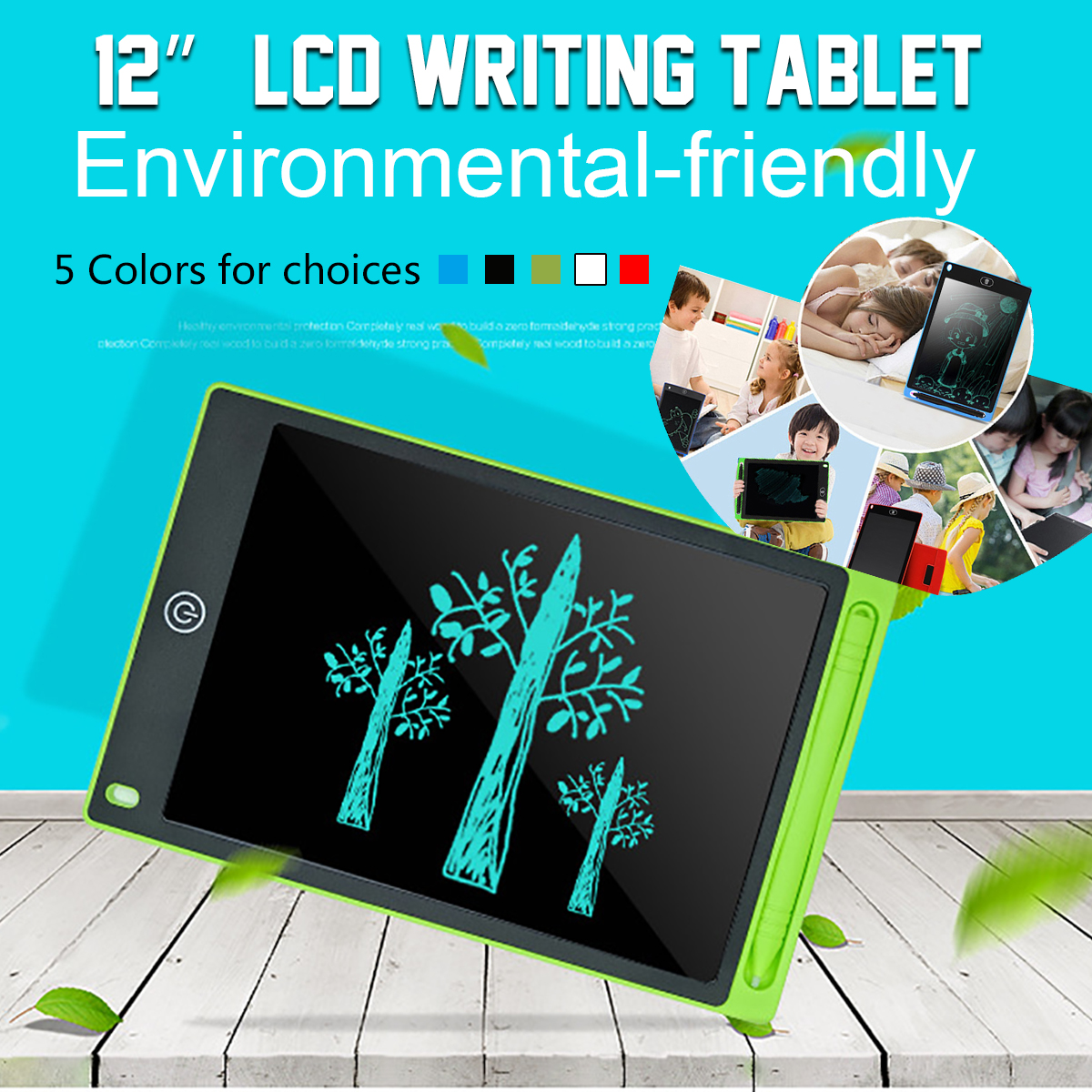 foulon LCD Childrens Light Energy Electronic Smart Writing Board Graphics Tablets