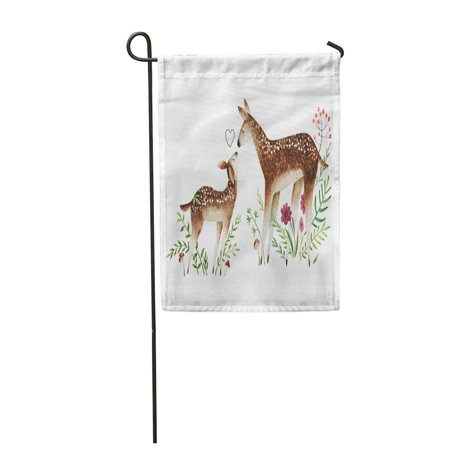 LADDKE Colorful Watercolor Deers Baby and Mom Flowers Mushrooms Berries Garden Flag Decorative Flag House Banner 12x18 - Berry Water Garden