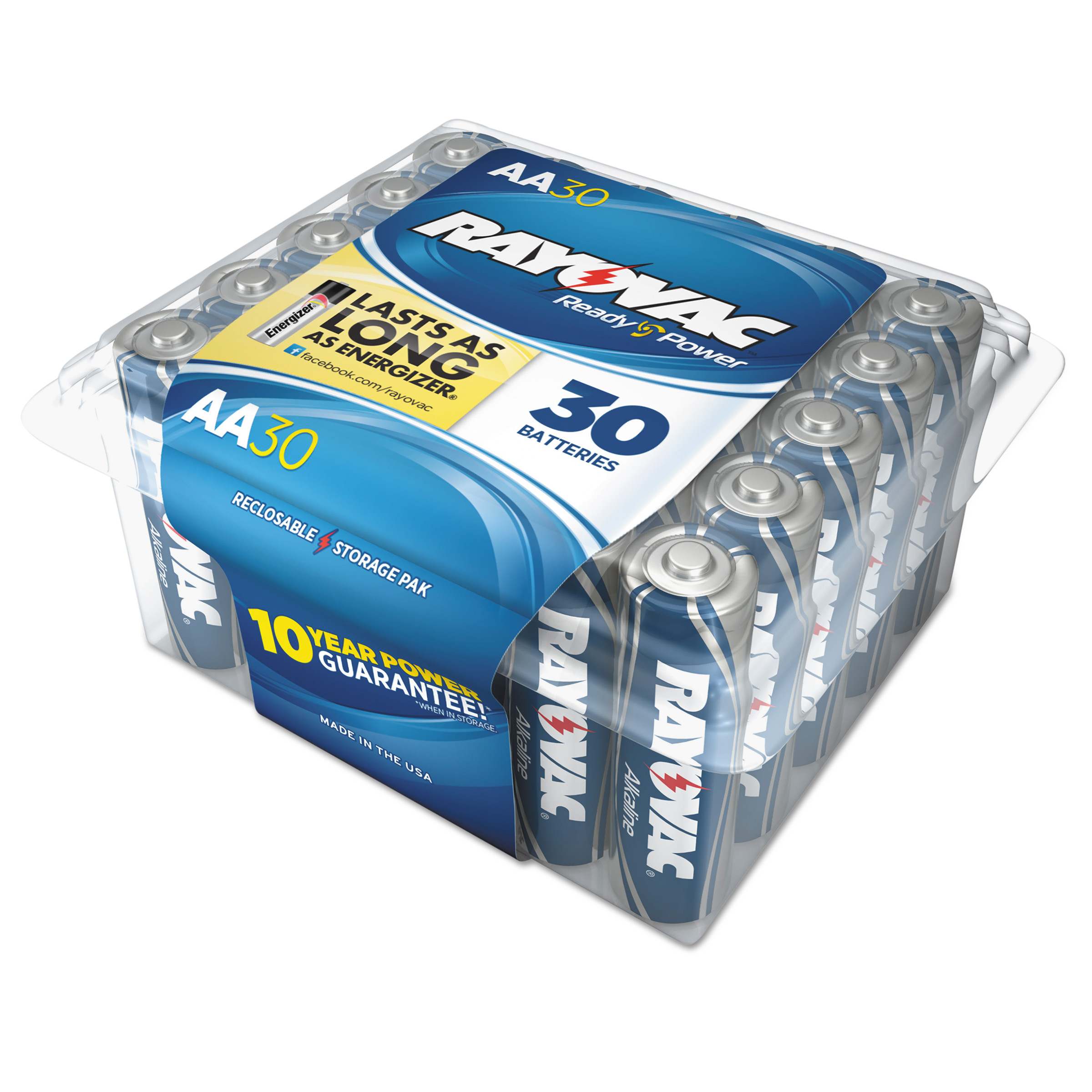 Rayovac Alkaline Battery, AA, 30/Pack