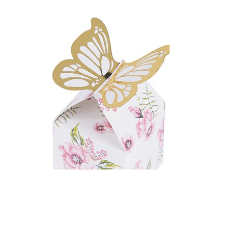 BUTTERFLY FLORAL FAVOR BOX (24 PCS) - Party Supplies - 24 Pieces Floral Favor Boxes