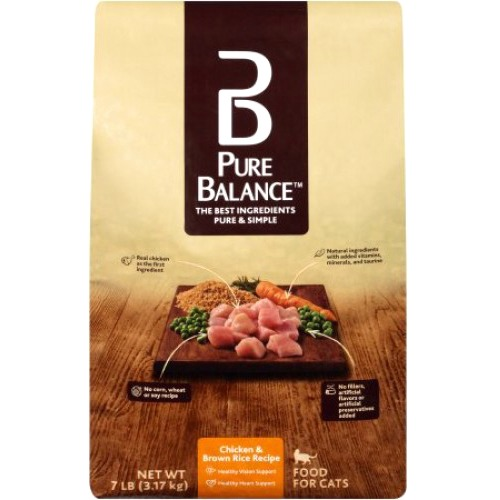 Pure Balance Chicken & Brown Rice Dry Cat Food, 7 lb