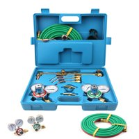 Ktaxon Gas Welding & Cutting Kit, Oxygen Torch Acetylene Regulator Welder, w/ Carry Case, 15'Hose