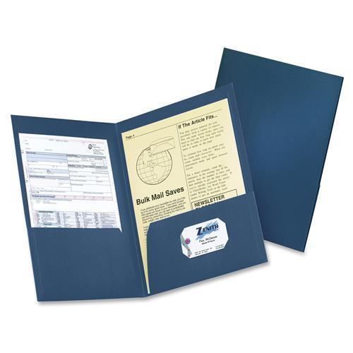 "Oxford 59626234 Two Pocket Folders - Letter - 8.50"" Width x 11"" Length Sheet Size - 200 Sheet Capacity - 2 Pockets - Fiber - Dark Blue - 4 / Pack"