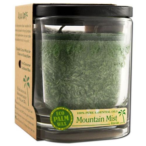 Aloha Bay Eco Palm Square Jar Candles, Mountain Mist Dark Green - 8 Oz