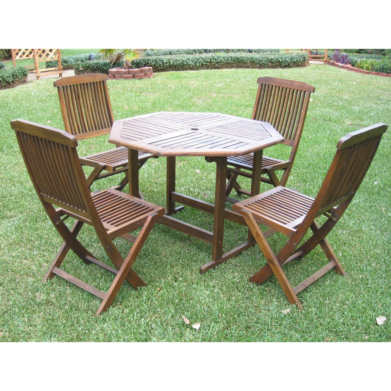 International Caravan Highland Acacia 5 pc. Folding Outdoor Patio Dining Set