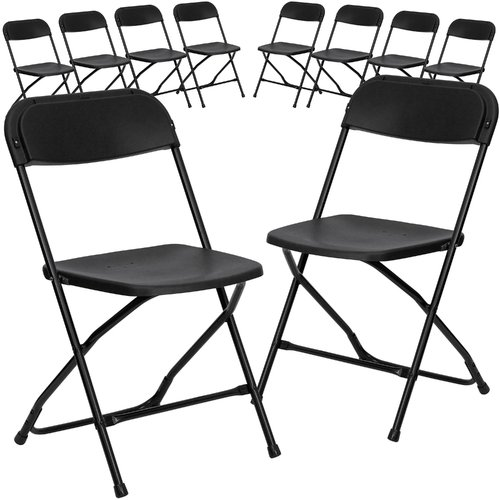 Flash Furniture 10-Pack HERCULES Series 800 lb Capacity Premium Plastic Folding Chair, Multiple Colors
