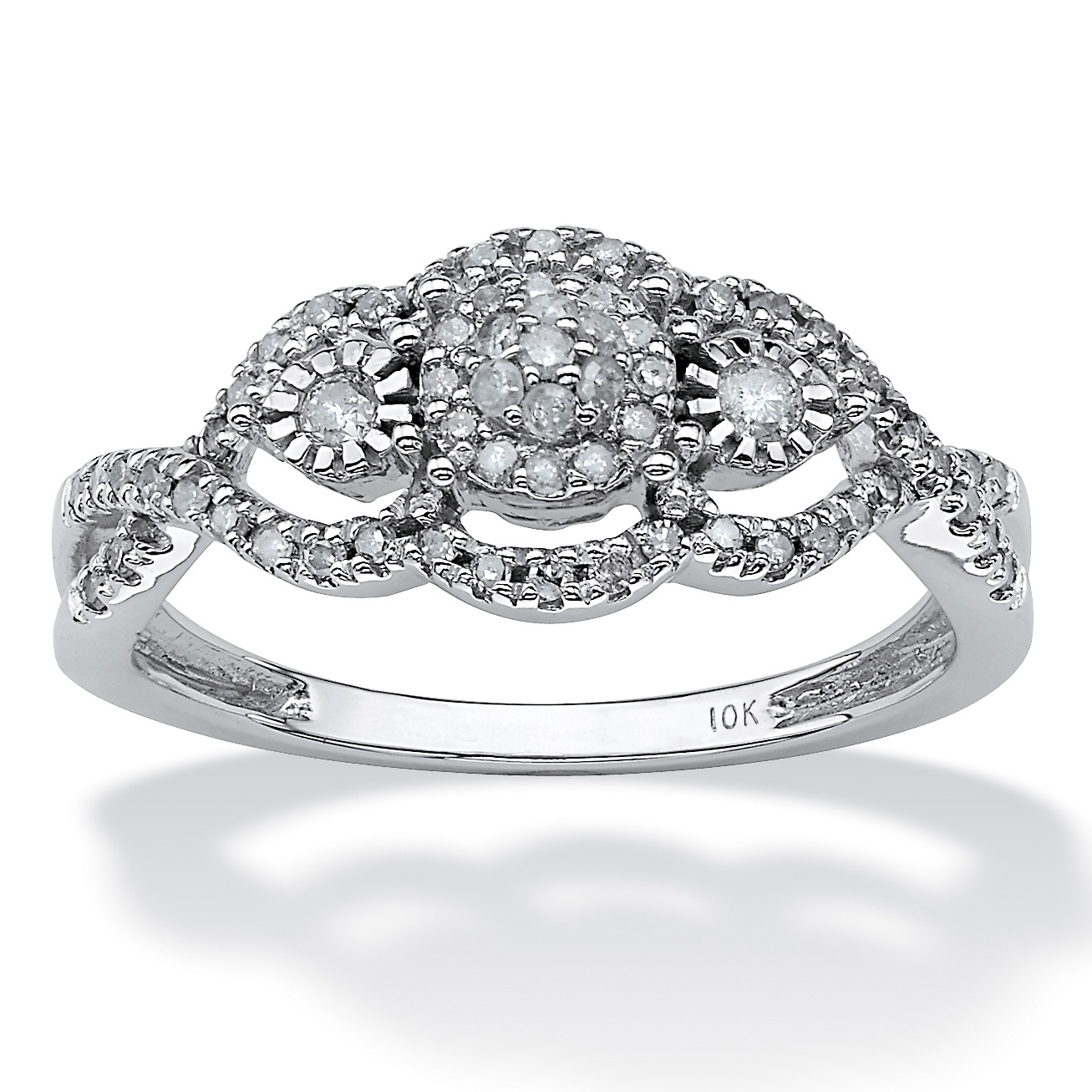 1/3 TCW Round Diamond Swirl Anniversary Ring 10k White Gold