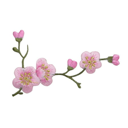 Cherry Blossom - Pink Flowers - Green Stem - RIGHT - Iron on Applique - Embroidered (Chiffon Flowers Patch)