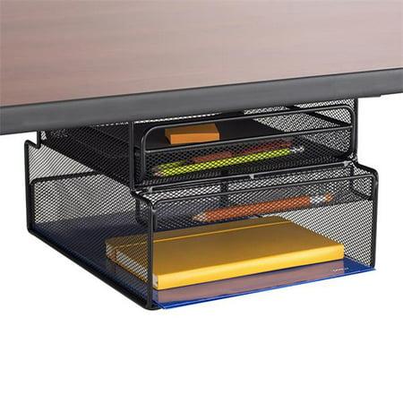 7.25 x 10 x 12.3 in. Onyx Hanging Organizer Under Desk Mount with Drawer, Black