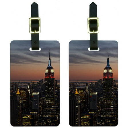 New York City Skyline at Night Empire State Building Luggage Tags ID, Set of 2](Empire State Building Halloween Night)