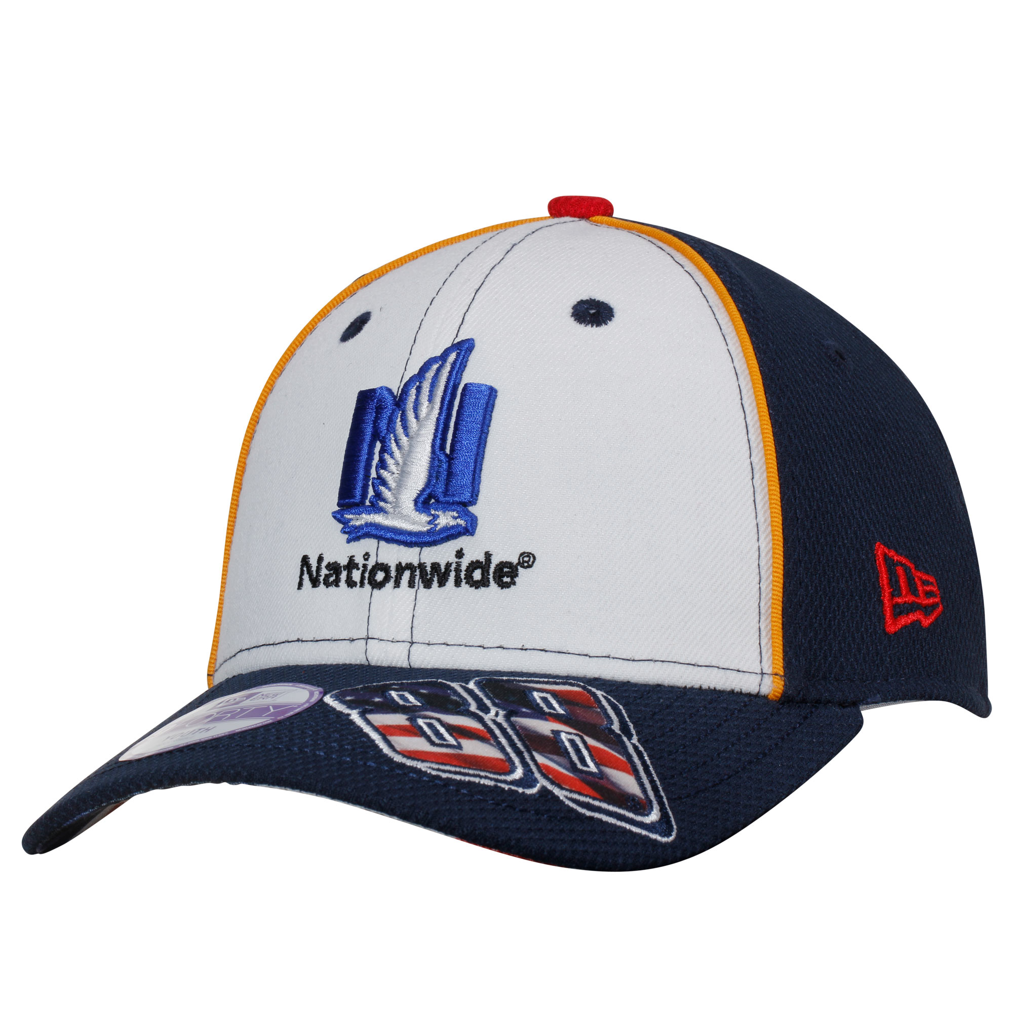 Dale Earnhardt Jr. New Era Youth Nationwide American Salute 9FORTY Adjustable Hat - White/Navy - OSFA