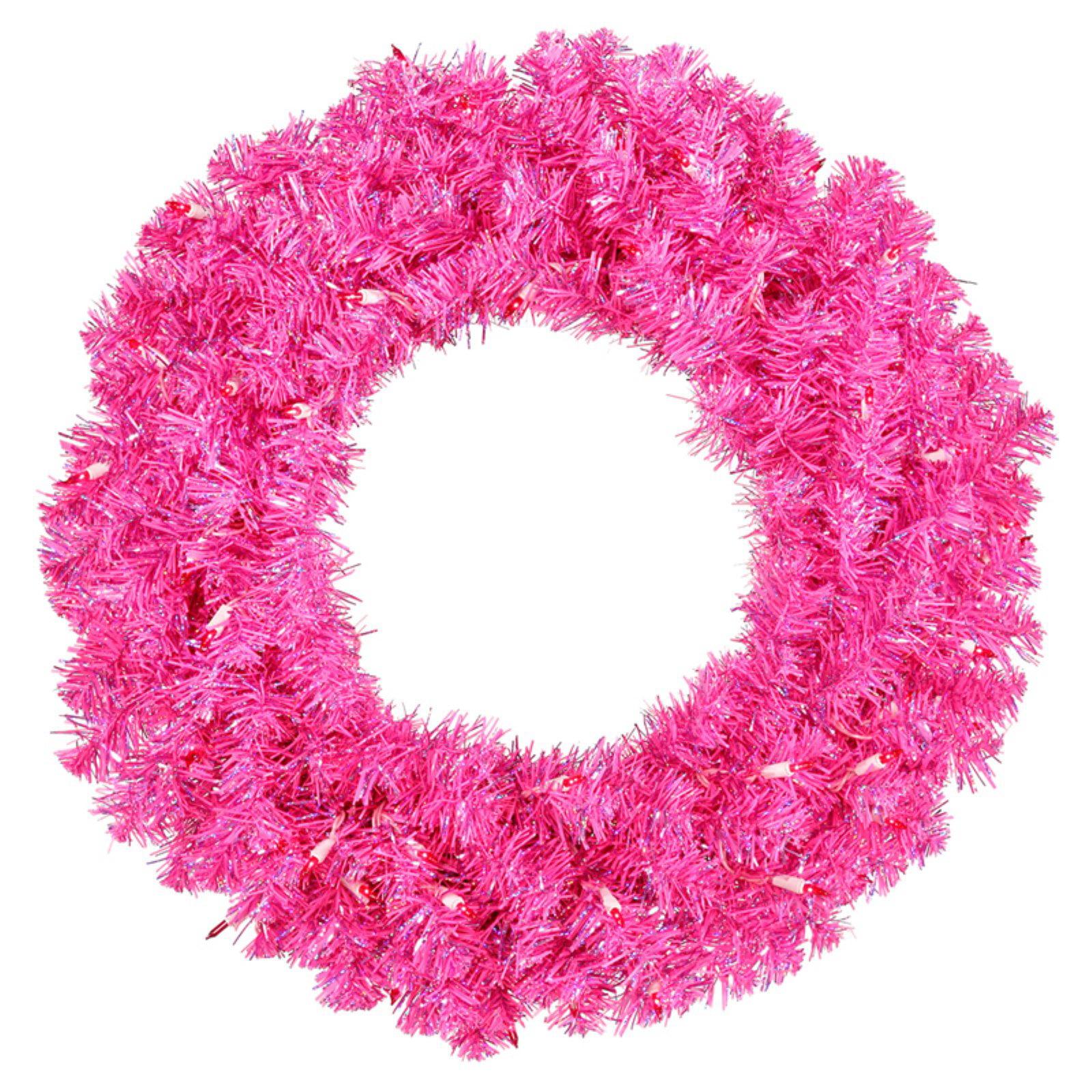 "Vickerman 30"" Hot Pink Wreath 70 Pink Lights 260T"