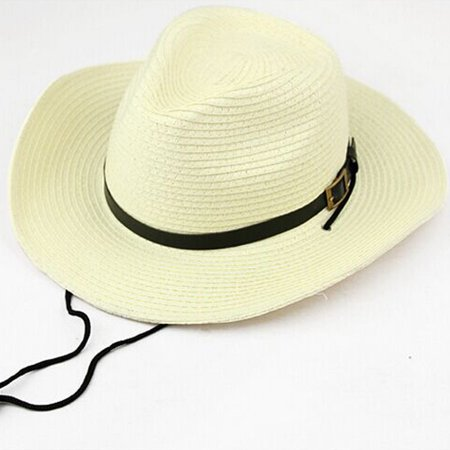 Foldable Wide Brim Sun Hat Cowboy Straw Hat Cap for Men Color:White Size:Adult