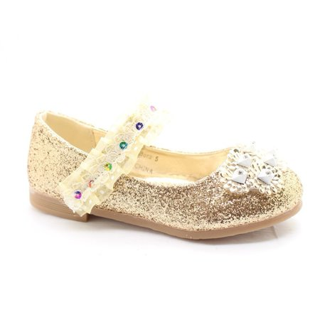 Little Girls Gold Glitter Lace Sequin Stone Adorned Dress Shoes - Little Girls Dress Up Shoes