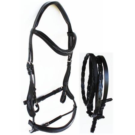 Weatherbeeta English Bridle (Horse English Leather Padded Riding Raised Adjustable Flash Bridle Reins 803S45 )