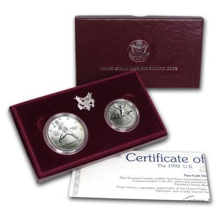 1992 2-Coin Olympic Set BU (w/Box & COA)