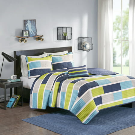 James Colorblock Coverlet Set - Blue/Lime Green