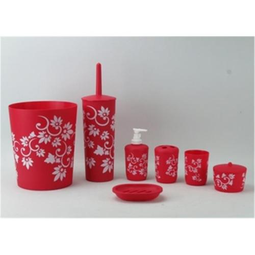 Hopeful Enterprise Inc BA120200-4RD Bathroom Set Plastic Red