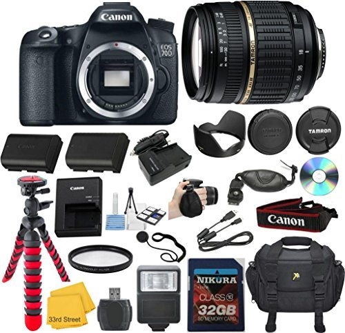 Canon EOS 70D 20.2 MP Digital SLR Camera with Dual Pixel CMOS AF Full HD 1080p Video with Movie (Body Only)... by 33rd Street