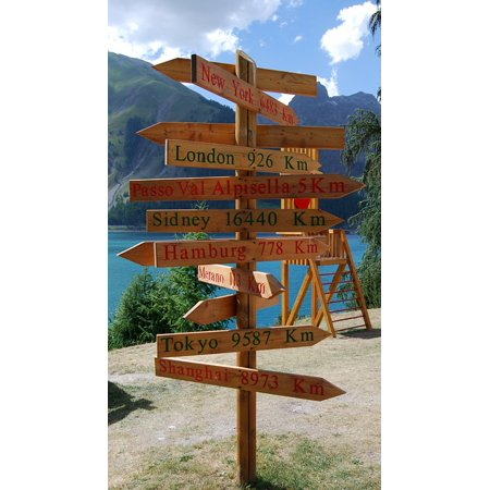 Laminated Poster Direction Wood Signs Indication Merano Livigno Poster Print 11 x 17