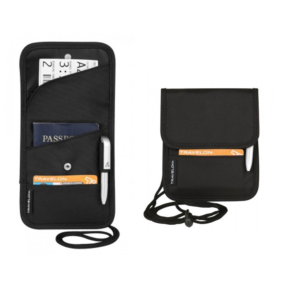 Travelon ID Boarding Pass Holder Snap Closure Secure Passport Travel Neck Wallet by Travelon