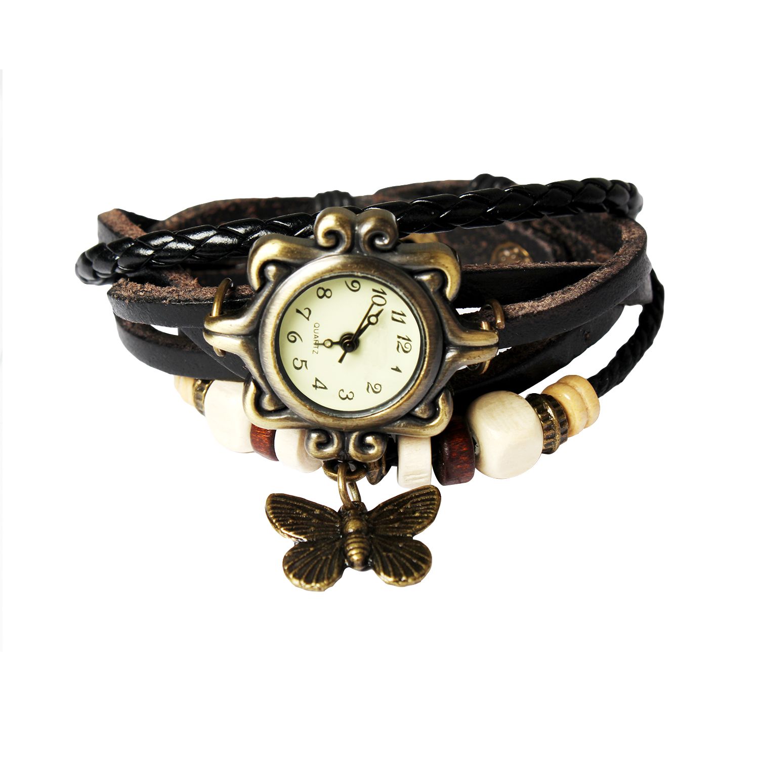 Beautiful Bohemian Style Retro Handmade Leather Butterfly Women's Watch (Black)