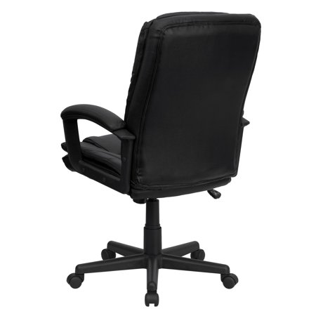 Flash Furniture Executive Leather High-Back Office Chair with Arms, Black