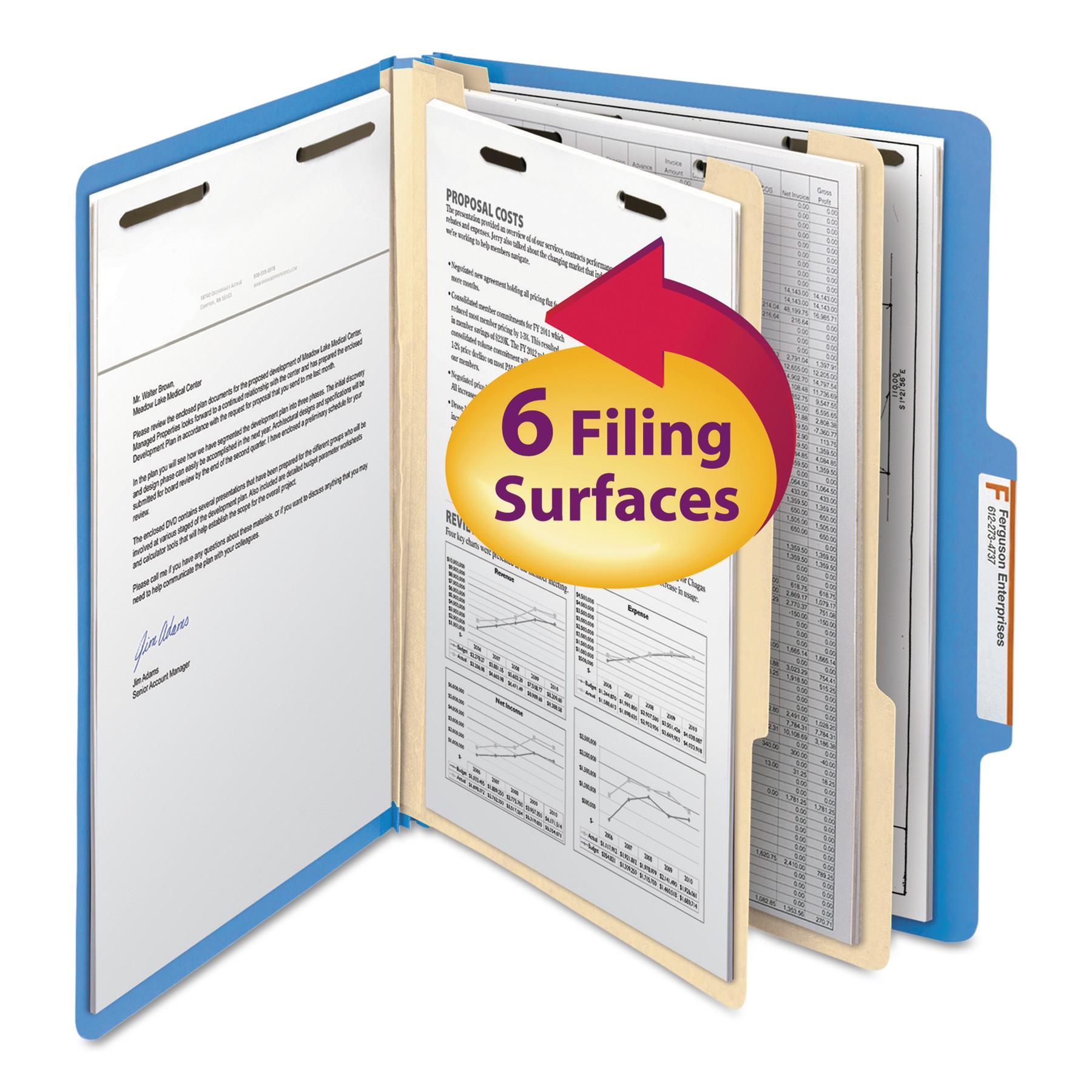 "Smead Classification File Folder, 2 Divider, 2"" Expansion, Letter Size, Blue, 10 per Box (14001)"