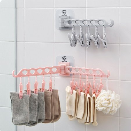 Portable Multifunction Bathrooms Hanger Rack Clothespin Hanging Drying Rack for Home Kitchen Travel Storage gray 48*16.8*1.5cm
