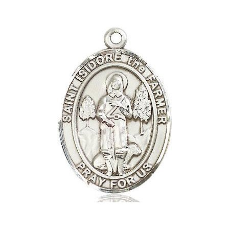 St. Isidore The Farmer Patron Saint Medal in Sterling Silver