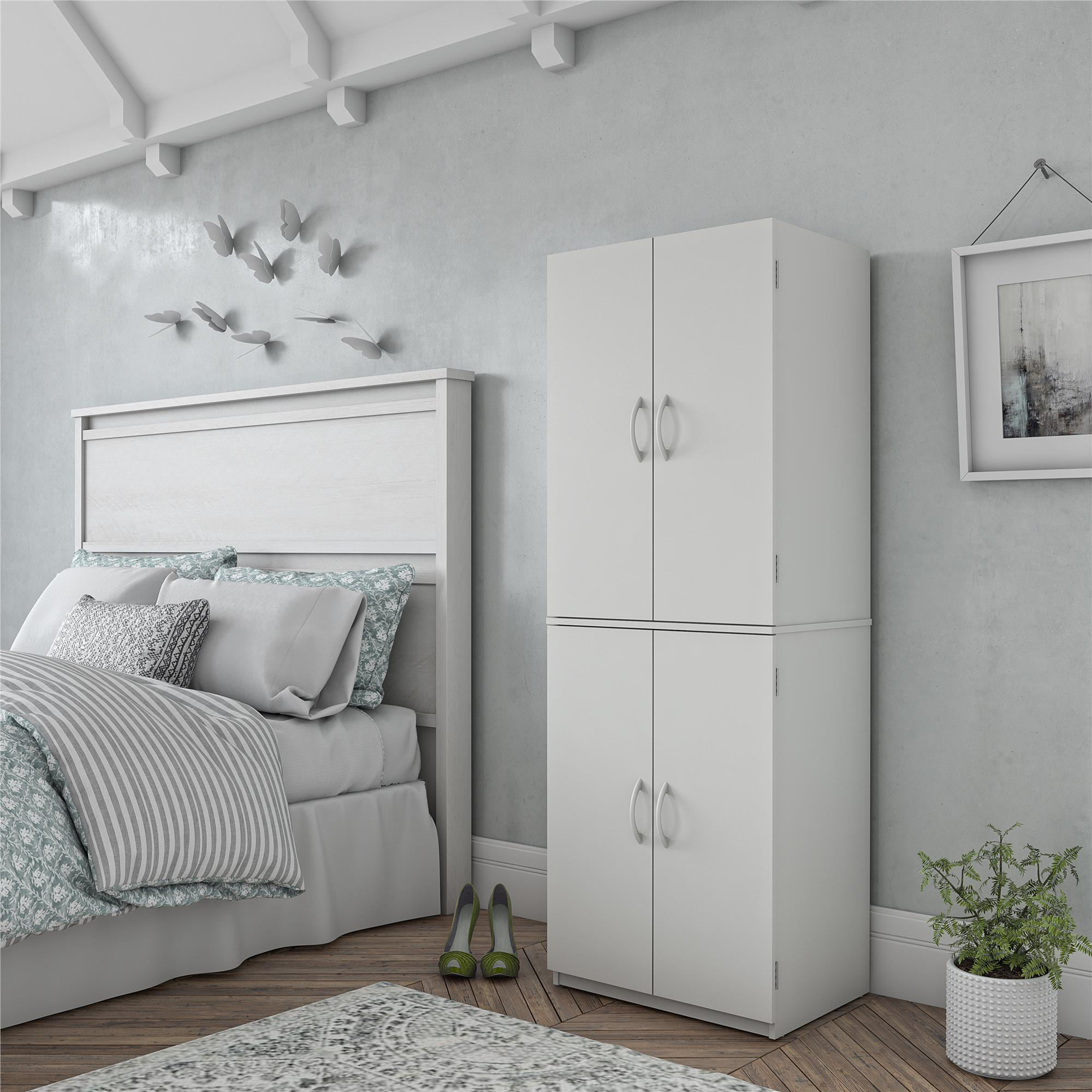 Picture of: Tall Storage Cabinet Kitchen Pantry Cupboard Organizer Furniture Black White Oak Ebay