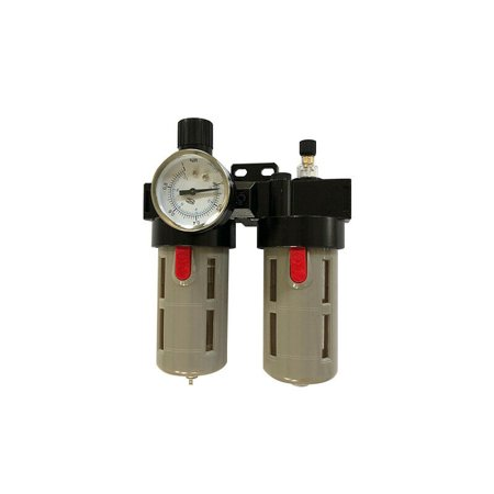 INTBUYING 1/2In NPT AC FR FR&L Air Line Piggyback Filter Combo Air System Accessory Regulator 40micron Piggyback Filter Regulator