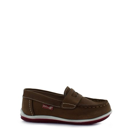 Rilo Little Boys Crazy Brown Slip On Moccasion Leather Shoes