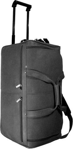 20 in. Long Rolling Duffel Bag w U-Shaped Top Opening (Black) by David King & Co. Inc