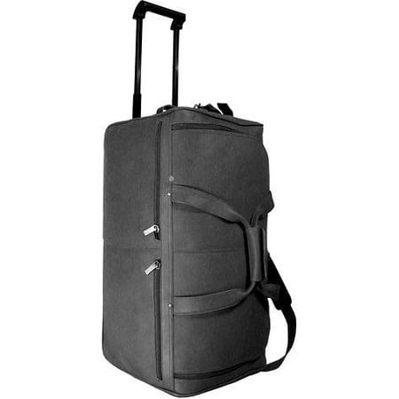 772575028 David King Leather Bags 20 in. Long Rolling Duffel Bag w U-Shaped Top  Opening (Black) - Walmart.com