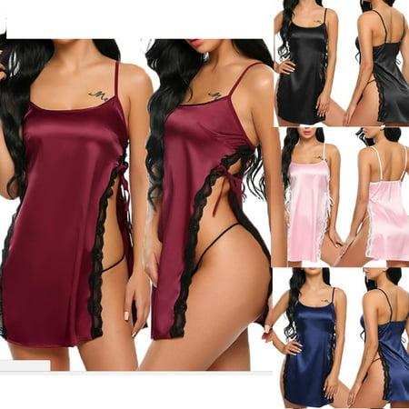 aa9a26c102f Sexy-Lingerie-Women-Silk-Lace-Robe-Dress-Babydoll-Nightdress-Nightgown- Sleepwear