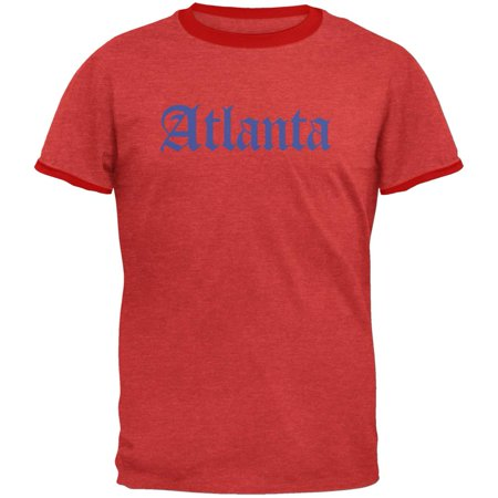 Cities Vintage Old English Atlanta Heather Red-Red Men's Ringer T-Shirt