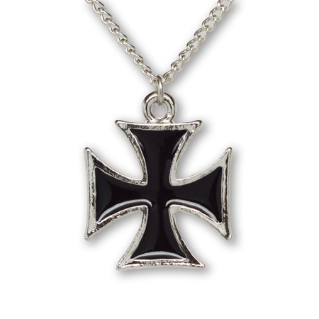 Maltese Cross Black Enamel on Silver Finish Pewter Cosplay Pendant Necklace by Real Metal
