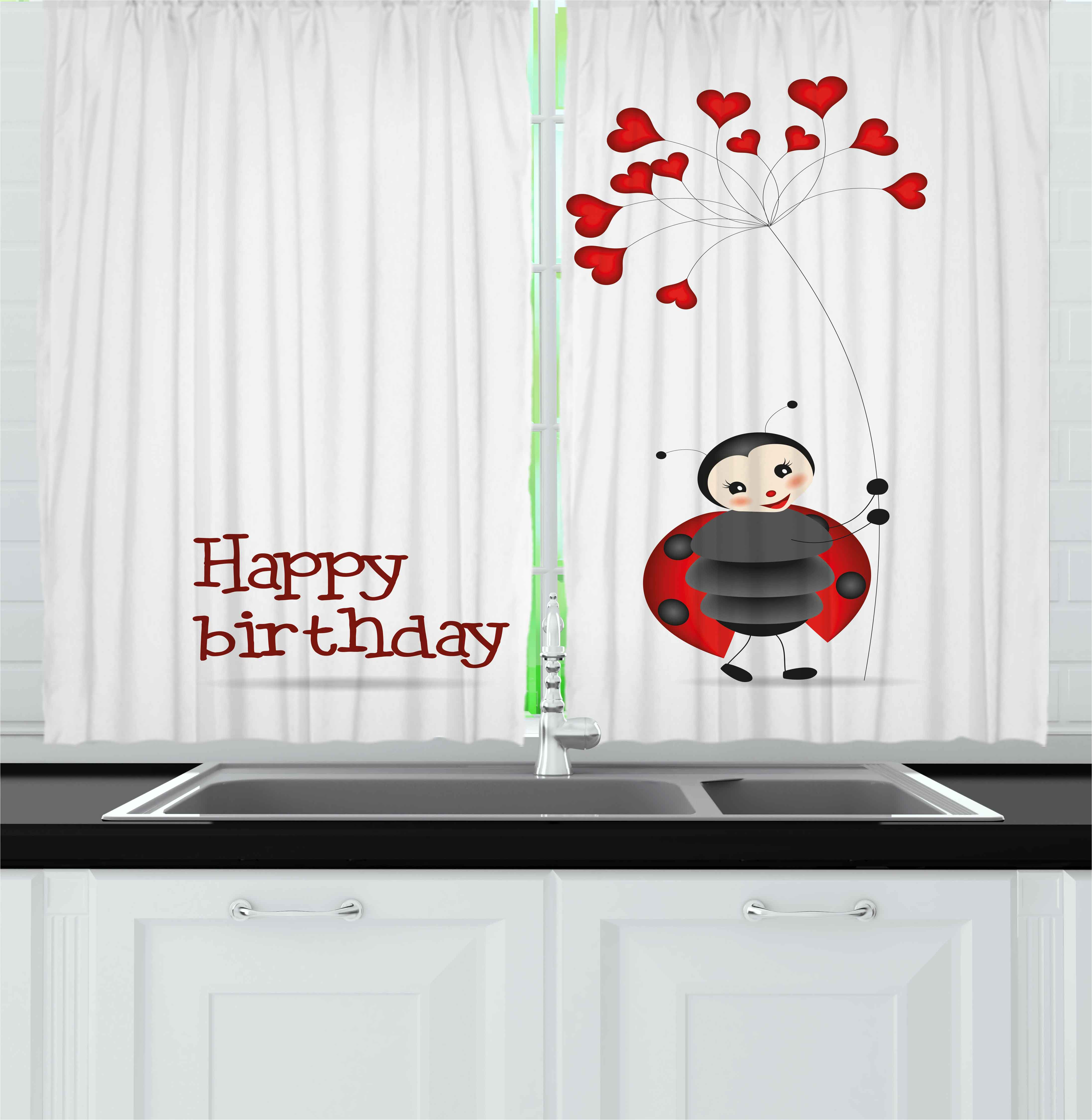Kids Birthday Curtains 2 Panels Set, Ladybug Wings Flower Inspired Heart Shaped Celebration Balloons, Window Drapes for Living Room Bedroom, 55W X 39L Inches, Red Black and White, by Ambesonne