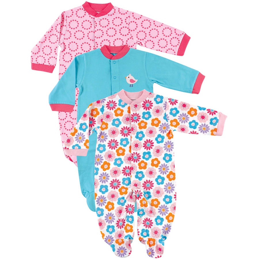 Luvable Friends Newborn Baby Girls Sleep N Play Snap Front 3-Pack