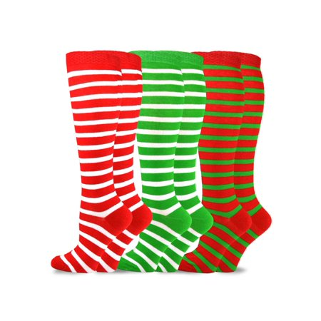 TeeHee Christmas and Holiday Fun Knee High Socks for Women 3-Pack ()