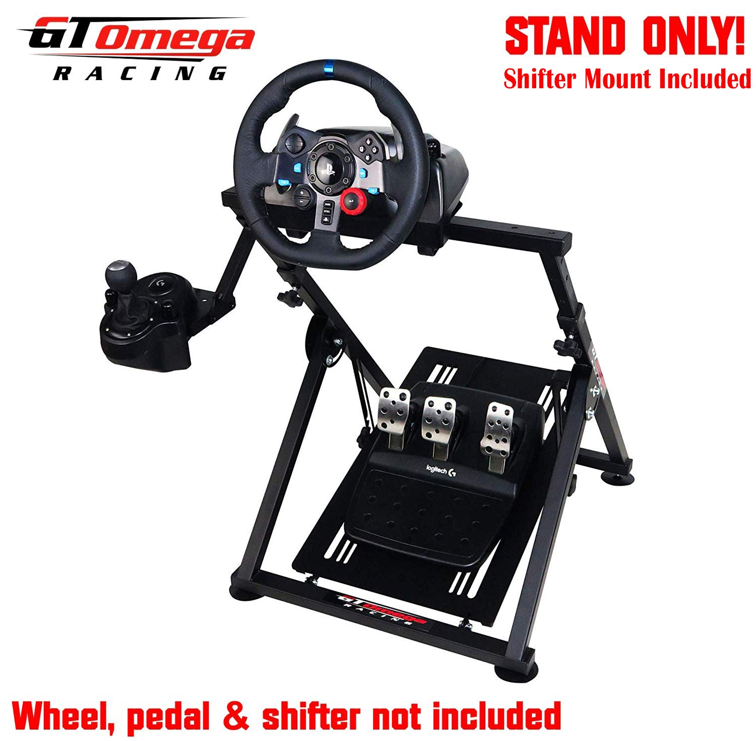 Gt Omega Apex Racing Wheel Stand For Logitech Fanatec Clubsport Thrustmaster Gaming Steering Wheel Pedal Shifter Mount Tx T500 T300 G29 G920 Ps4 Xbox Foldable Tilt Adjustable For Racing Console
