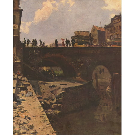 Framed Art for Your Wall Lépine, Stanislas - Bridge in a French town 10 x 13