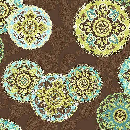 Creative Cuts Cotton Fabric, Serendipity Medallion Burst Paisley Print