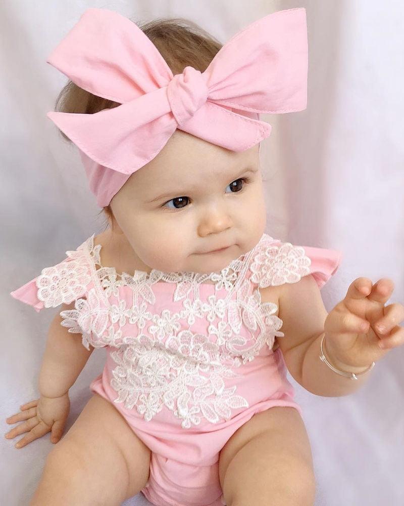 2PC Newborn Infant Baby Girls Floral Romper Jumpsuit Sunsuit Clothes Set Outfits