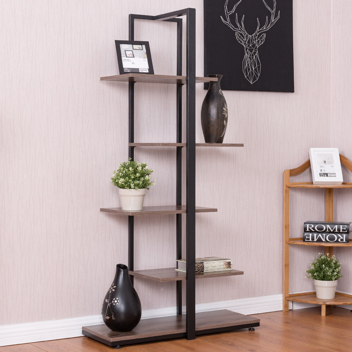 Costway Bookcase 60'' Modern Open Concept Display Etagere Display Shelf Bookshelf Tower by Costway
