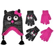 ABG Accessories Critter Design Hat and 2 Pair Gloves Cold Weather Set, Little Girls, Age 4-7